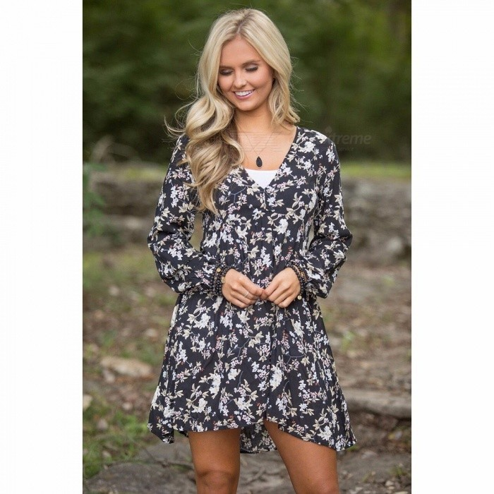 European And American Style Fashion Chic V Neck Long Sleeve Floral Print  Dress For Girls Black XL 2f1422f91e2d0