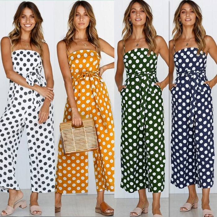 77fbc80d823 ... Sexy Wide Leg Jumpsuit Summer Overalls Polka Dot Streetwear Boho Casual  Spaghetti Strap One Piece Romper ...