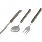 Portable Pocket Stainless Steel Folding Fork + Spoon + Knife Dinner Set (Set of 3)