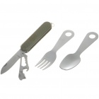 Portable Pocket Stainless Steel Folding Fork + Spoon + Knife + Opener Dinner Set (Set of 4)