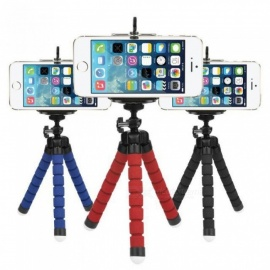 Flexible Mini Octopus Tripod for Phone with Phone Clip Mount for iPhone X 7 6 6s Samsung S9 S8 Xiaomi GoPro Action Camera Black