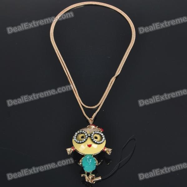 2-in-1 Cute Girl Figure Pendant Necklace + Cell Phone Strap cute cartoon human figure pendant necklace white red