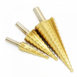 Step Drill Bit 32mm Triangle Auger Drill 4-32mm/4-20mm/4-12mm Triangular Shank Drill Spiral Groove Step Triangular Pagoda Shape 1set 3pcs/drill bit set