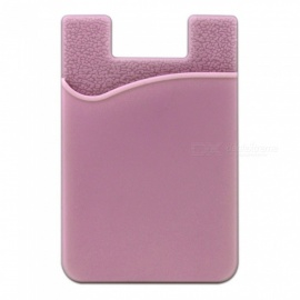 JEDX Silicone Adhesive Credit Card Pocket Money Pouch Holder Case for Cell Phone - Pink