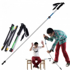 Ultra-light EVA Handle 5-Section Adjustable Canes Walking Sticks Trekking Pole Alpenstock for Outdoor Blue