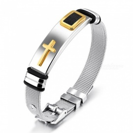 Classic Cross Bracelet for Men Mesh Strap Band Length 16.5-21cm Black Gold Color Stainless Steel Wrap Bracelets Fashion Bangles 58-60mm/Gold