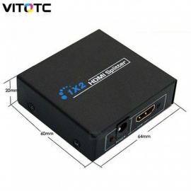 HZQDLN HDMI 1.4 1 in 2 Out 1080p HDMI Splitter 1x2 Splitter Power Signal Amplifier NEW Original Box   Black/EU Power Adapter