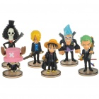 One Piece Figures Set with Display Base (6-Piece Set/Assorted)
