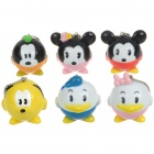 Stylish Disney Mickey Figures Set with Chain - Assorted (6-Figure Pack)