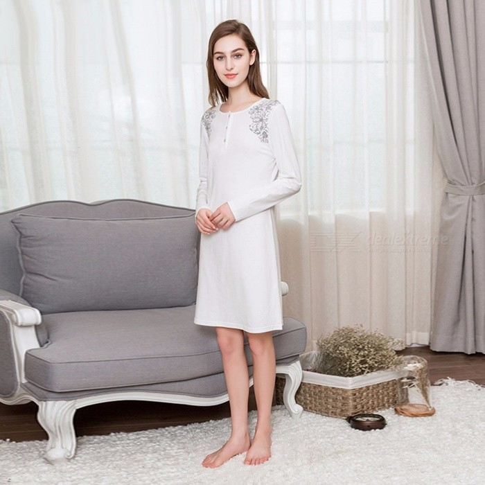 Women  s Knitted Cotton Long Sleeve Round Neck Dress Nightgown 2b377d082