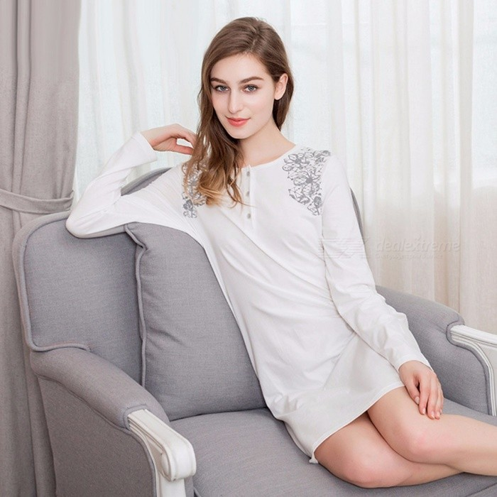 ... Women  s Knitted Cotton Long Sleeve Round Neck Dress Nightgown 25b21098b