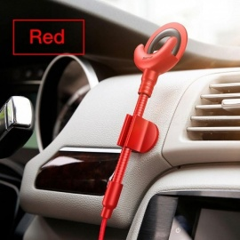 Car Phone Holder for iPhone X 8 7 6 5S 360 Degree GPS Mobile Phone Stand Car Mount USB Cable for iPhone Charging Bracket Red