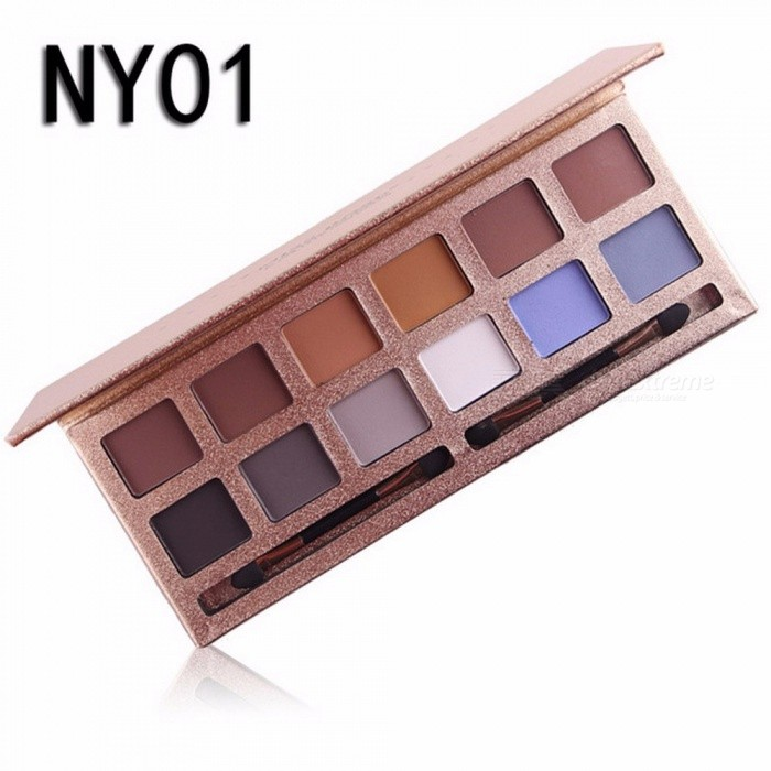 12 Colors Eyeshadow Palette, Professional Matte Naked Palette Glitter Eye Shadow, Nude Makeup Cosmetic (NY01)
