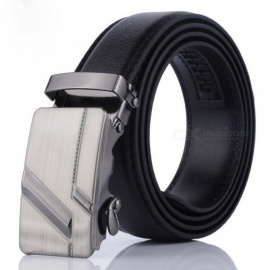 Men Automatic Buckle Belts PU Leather Practical Business Man Belts Classic Popular Male Brand Belts Black 115cm/002
