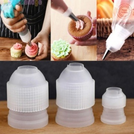 3pcs Plastic Icing Piping Bag Converter Adapter Cream Nozzle Pipeline Coupler Cake Decorating Tool Eco-Friendly 3 pcs