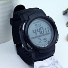 1001 Large Screen Sports Rubber Watch w/ LED Light, Alarm, Chronograph, Date Display, 30m Waterproof for Boy Student - Black