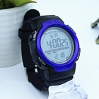 1001 Large Screen Sports Rubber Watch w/ LED Light, Alarm, Chronograph, Date Display, 30m Waterproof for Boy Student - Blue