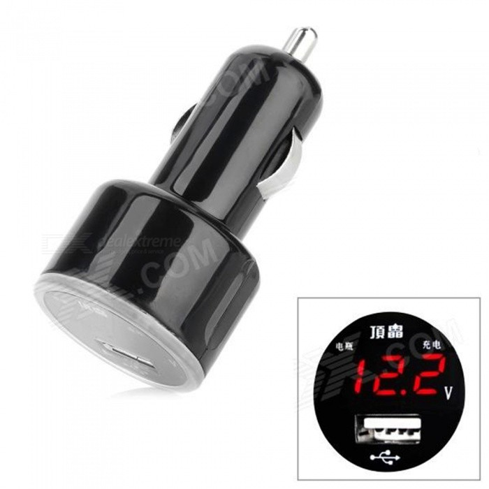 OJADE 12~24V Car Ciagrette Ligher, Single USB Charger with Automobile Voltage Testing - Black