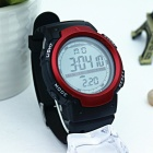 1001 Large Screen Sports Rubber Watch w/ LED Light, Alarm, Chronograph, Date Display, 30m Waterproof for Boy Student - Red
