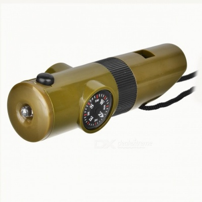 Military 6-in-1 Outdoors Survival Mini Kit (Whistle + Compass + Magnifier + LED Flashlight + more)