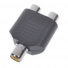 Nickel Plated RCA Female to 2 RCA Female Adapter - Black