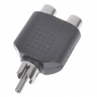 Nickel Plated RCA Male to 2 RCA Female Adapter - Black