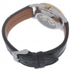 Stainless Steel + PU Leather Mechanical Wrist Watch - Gold + White + Black