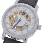 Stainless Steel + PU Leather Mechanical Wrist Watch - Black + Silver + White