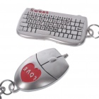 Unique Valentines' Zinc Alloy Keychains - Mouse & Keyboard (2-Piece Set)