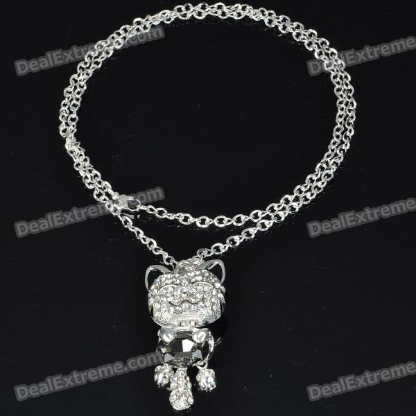 Charming Crystal Zircon Smiling Cat Style Necklace/Sweater Chain (70cm-Length)