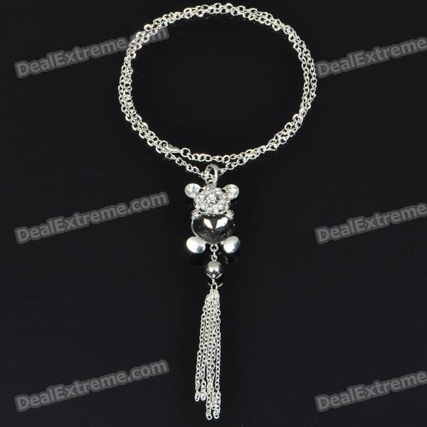 Charming Crystal Zircon Bear Style Necklace/Sweater Chain (70cm-Length) elegant plum flower style necklace 70cm length