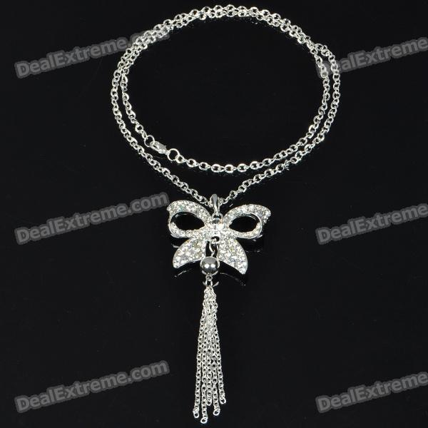 Charming Crystal Zircon Bowknot Style Necklace/Sweater Chain (70cm-Length) elegant plum flower style necklace 70cm length