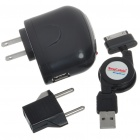 US Plug AC Power Adapter/Charger with EU Adapter & USB Cable for Samsung P1000 (100~240V)