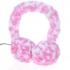 Trendy Soft Plush Earmuffs Winter Earwarmer Headphones - Pink (3.5mm Jack/110CM-Cable)