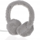 Trendy Soft Plush Earmuffs Winter Earwarmer Headphones - Grey (3.5mm Jack/110CM-Cable)