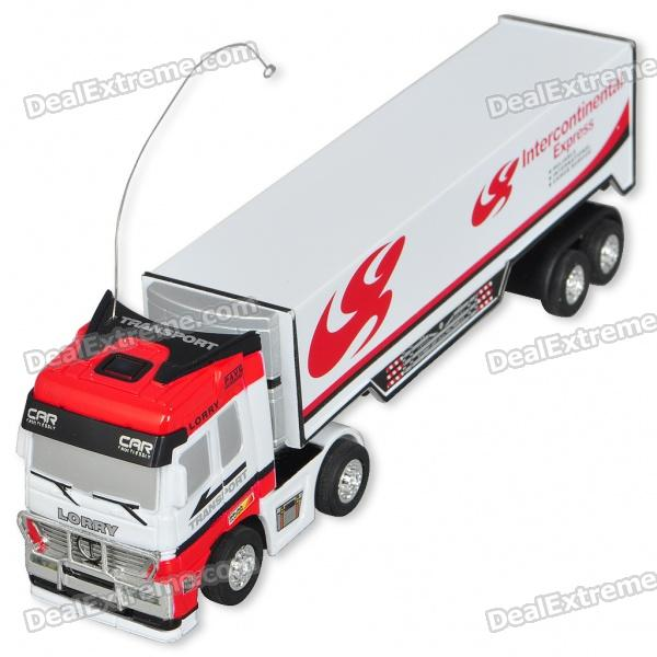 Mini R/C Model 1:98 Scale Container Truck - White + Red (27MHz/1*AA)