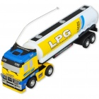 Mini R/C Model 1:98 Scale LPG Tank Truck - White + Yellow (27MHz/1*AA)