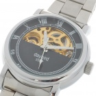 Stainless Steel Mechanical Wrist Watch - Silver + Black