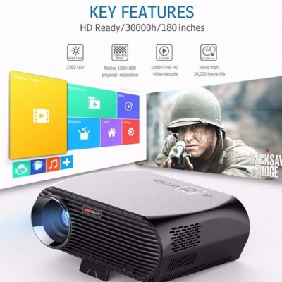 GP100 Android Projector Full HD 3200 Lumen 1080P WiFi Bluetooth LED LCD Home Theater Cinema Video Projector Proyector black