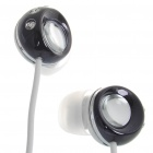 Noise Isolation In-Ear Stereo Earphone - Black + White (3.5mm Jack/120CM-Cable)