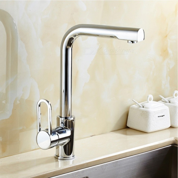 Brass Chrome 360 Degree Rotatable One-Hole Kitchen Faucet with Ceramic Valve, Single Handle