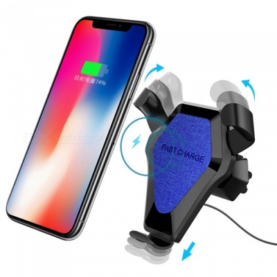 Fast Charge Qi Wireless Charging Pad, Car Air Vent Dashboard Holder Mount Charger - Blue