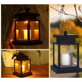 European-Style Solar Powered Candle Lamp, Garden Hanging Light for Decoration