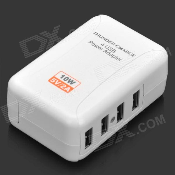 4-Port USB Power Adapter/Charger with US/EU/UK Plug Adapters (100~240V) kwen tc05 usb 5 port eu us au uk power adapter charger w indicator white 100 240v