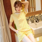 Cotton Short-Sleeved  Women Pajamas  Summer Shorts Striped Round Neck  Leisure Wear Yellow/M