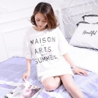 Summer Short-sleeved Women\'s Pajamas, Casual Letter Pattern Cotton T-Shirt Sleepwear Sleepshirt For Girls White/M