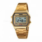 SKMEI 30m Waterproof Square Dial Digital Wristwatch, Men\'s Watch With Stainless Steel Strap Rose