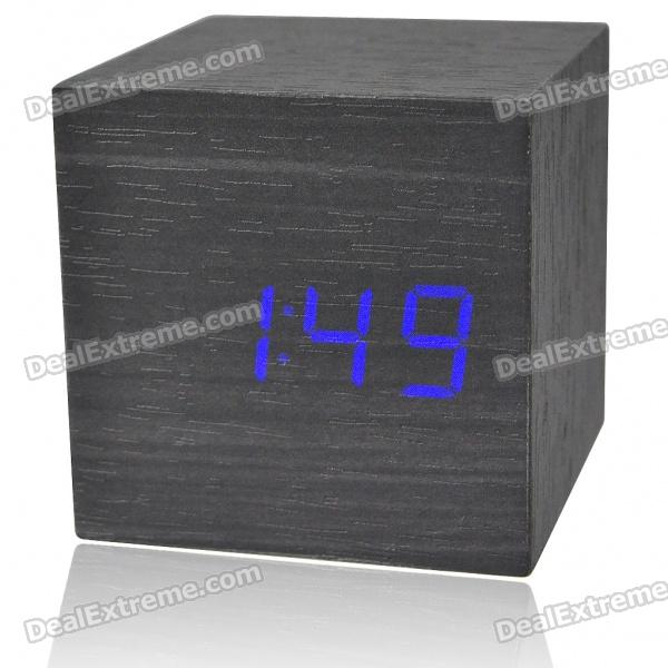 Wooden Decorative Desktop Clock - Blue LED Light Display (4*AAA)