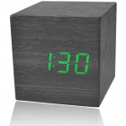 Wooden Decorative Desktop Clock - Green LED Light Display (4*AAA)