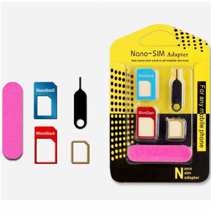 Metal Nano Sim Card Adapter Standard Micro SIM Card Fitting Cutting Sleeve With Tray Eject Needle Pin For IPHONE Samsung